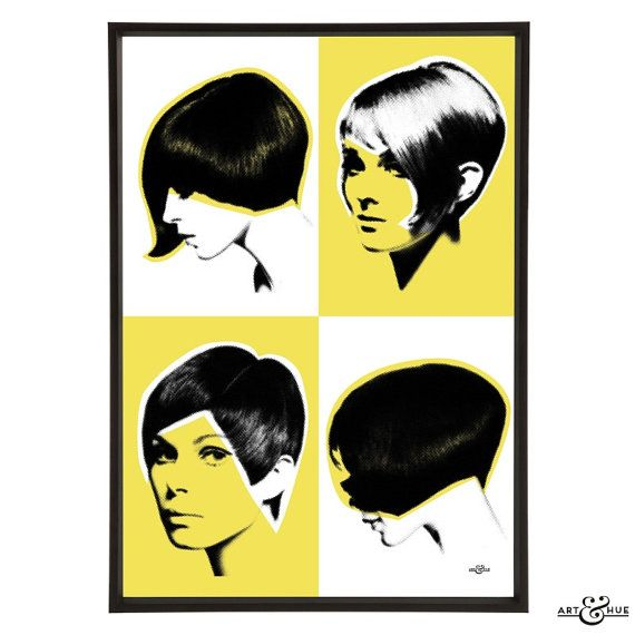 Mod Quad Pop Art Print Of Iconic 1960s Hairstyles With Art
