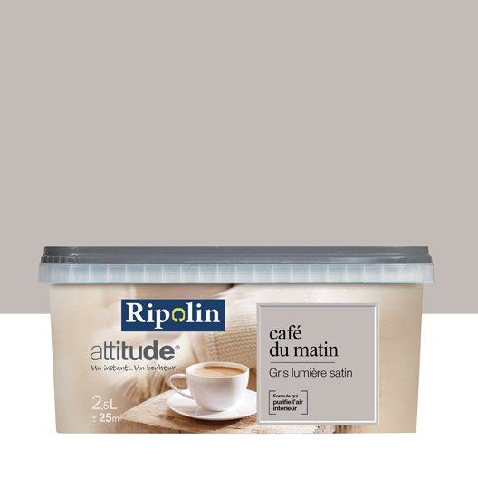 peinture multisupports attitude caf du matin ripolin gris lumi re 2 5 l couleur en 2019. Black Bedroom Furniture Sets. Home Design Ideas