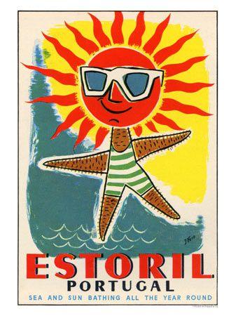 Estoril Portugal, Travel Beach Poster #essenzadiriviera www.varaldocosmetica.it/en