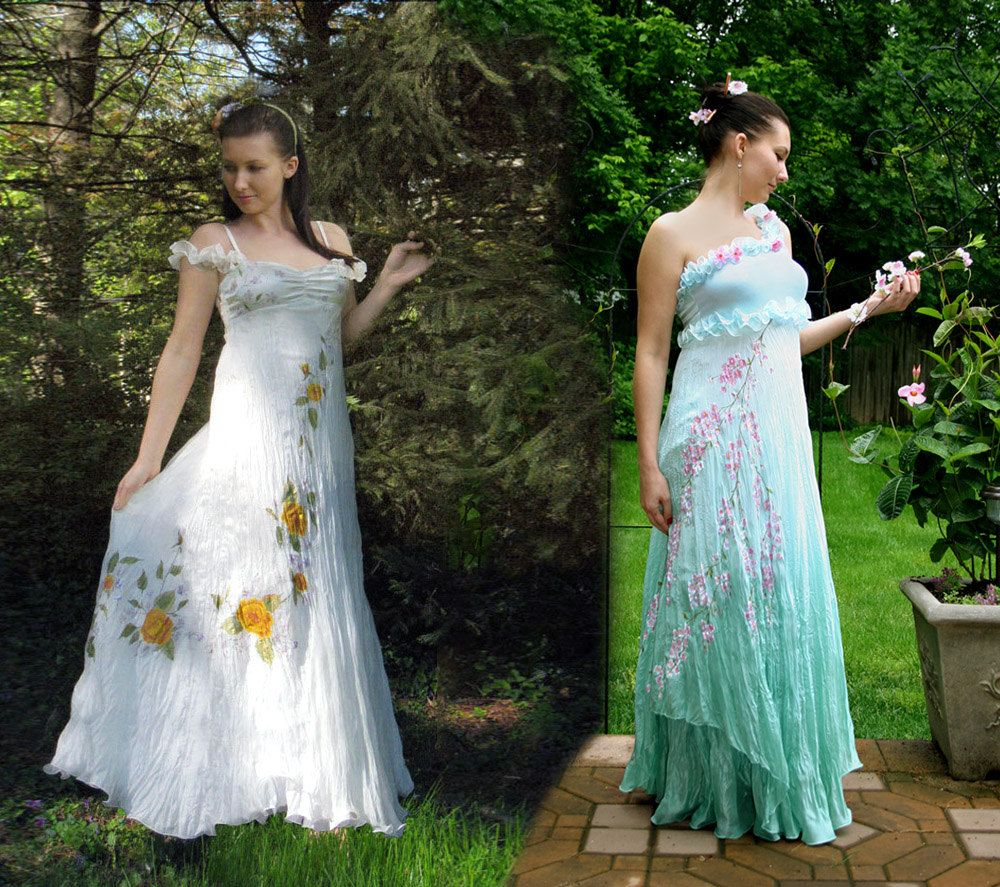 Hand painted silk gowns. $350.00, via Etsy.