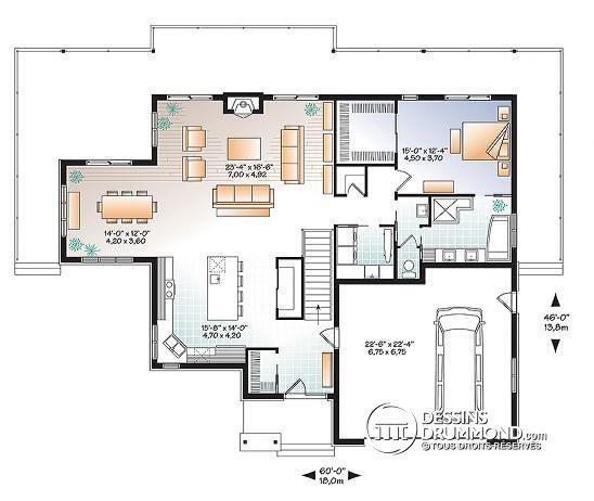 W3967 - Maison style chalet moderne rustique, 4 chambres, grande - plans de maison moderne