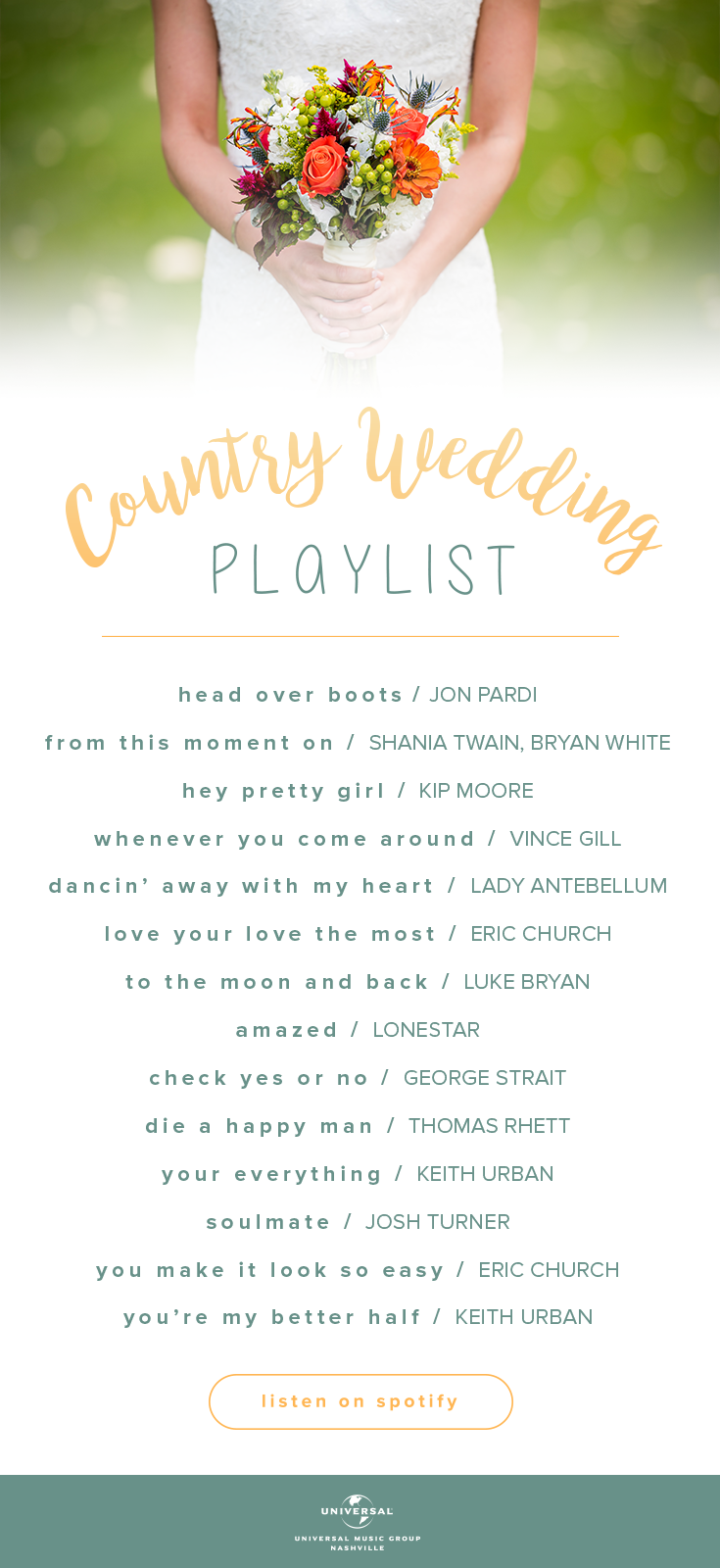 Are Your Favorite Country Songs On Our Country Wedding Playlist Listen To Our Top Songs For Fall Weddings Country Wedding Songs Wedding Songs Wedding Playlist