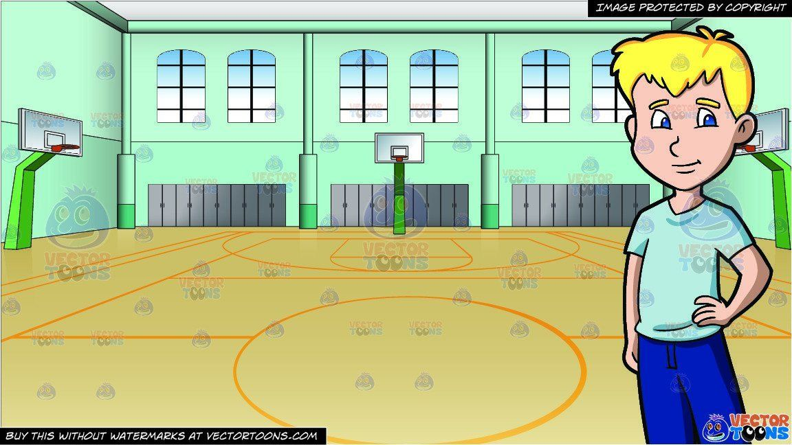 A Blonde Male High School Student And Indoor Basketball Court Background Indoor Basketball Court Indoor Basketball Student Cartoon
