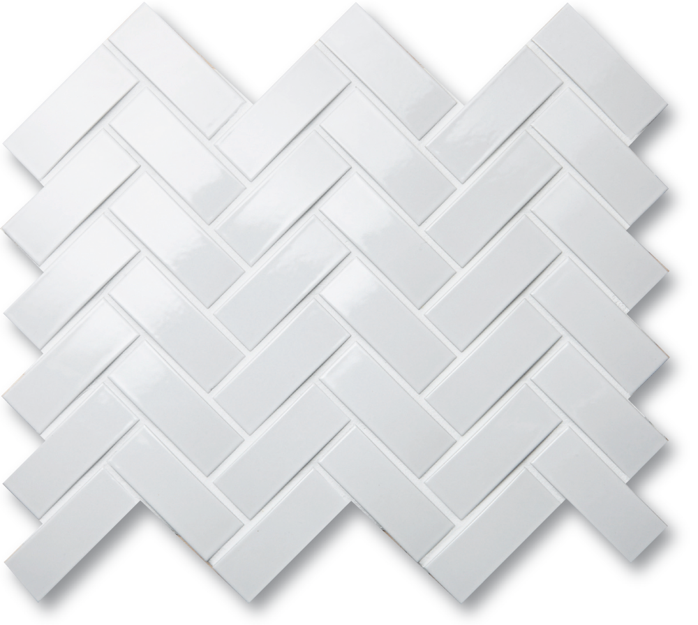Arc 1x3 Glossy White Herringbone Herringbone Wall Glossy White Pool Tile