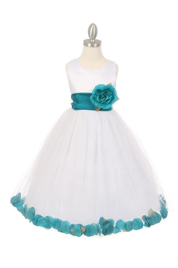 Girls White Satin Dress with Teal Flower Petal Skirt