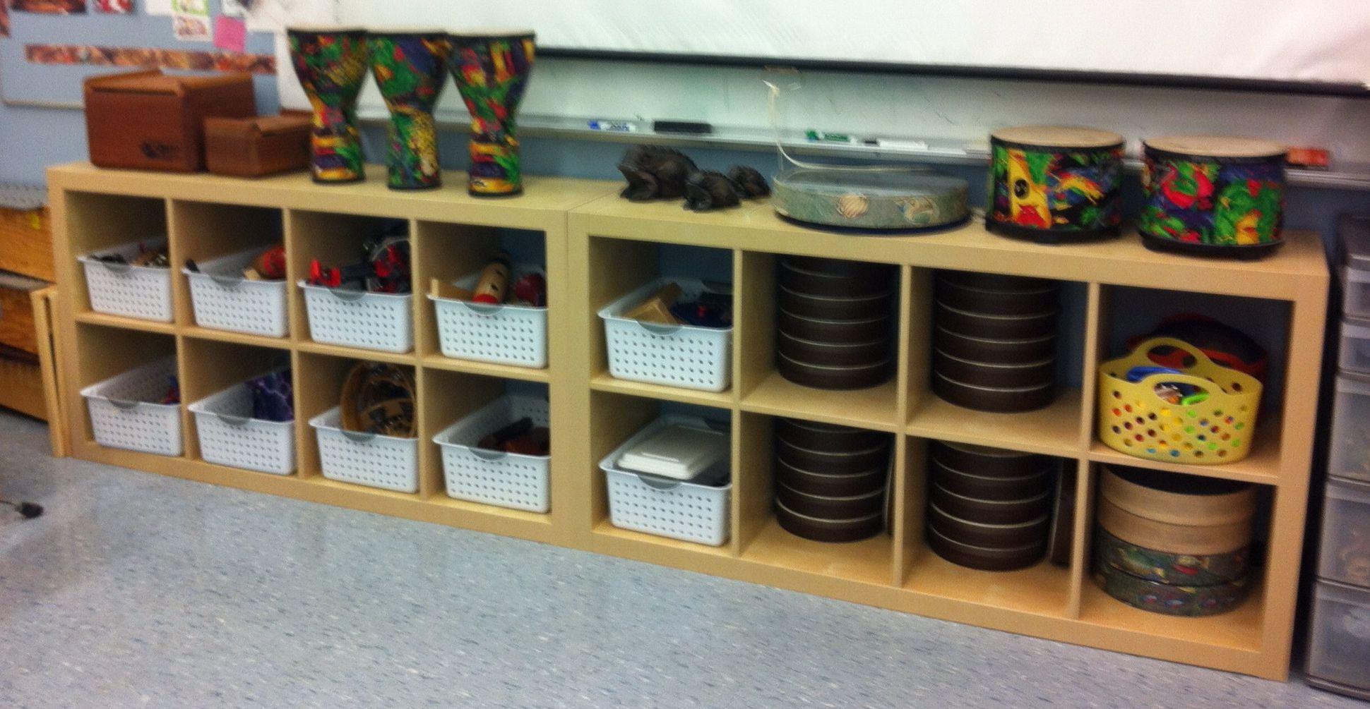 Genius Idea Ikea Expedit Shelves With Baskets For Storage: Elementary Music Room Storage / Organization. Ikea EXPEDIT
