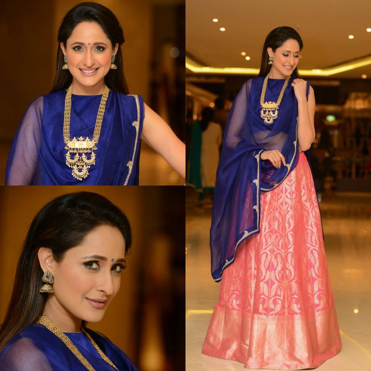 Pragya Jaiswal embracing the South Indian in her in this beautiful lehanga from Raw Mango and elegant temple jewellery by  shringaar the ethnics tory  Silver Centrre Minerali. Styled by  Anisha Gandhi   Rochelle D sa at