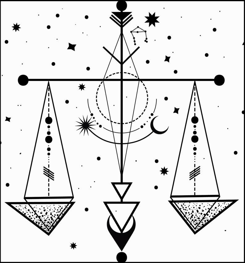 Zodiac sign clipart Libra. Minimalist tattoo of th