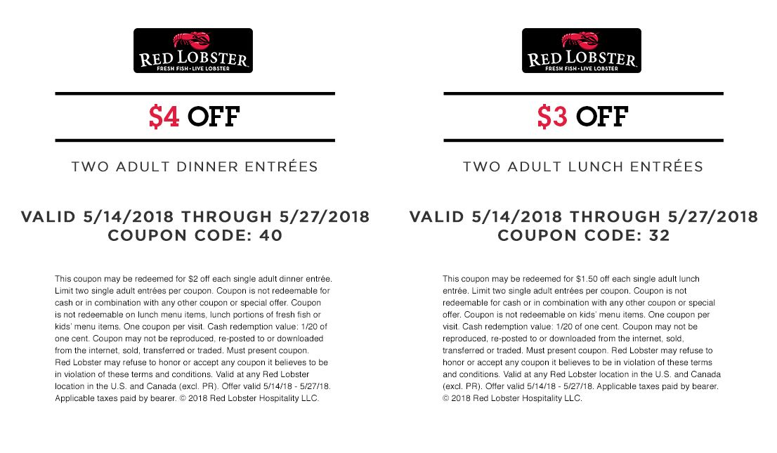 Red Lobster Coupon 4 Off Two Adult Dinner Entree Or 3 Off Two