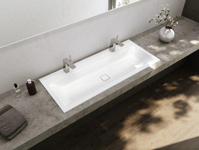 lavabo da incasso soprapiano doppio rettangolare in acciaio smaltato cono lavabo doppio. Black Bedroom Furniture Sets. Home Design Ideas