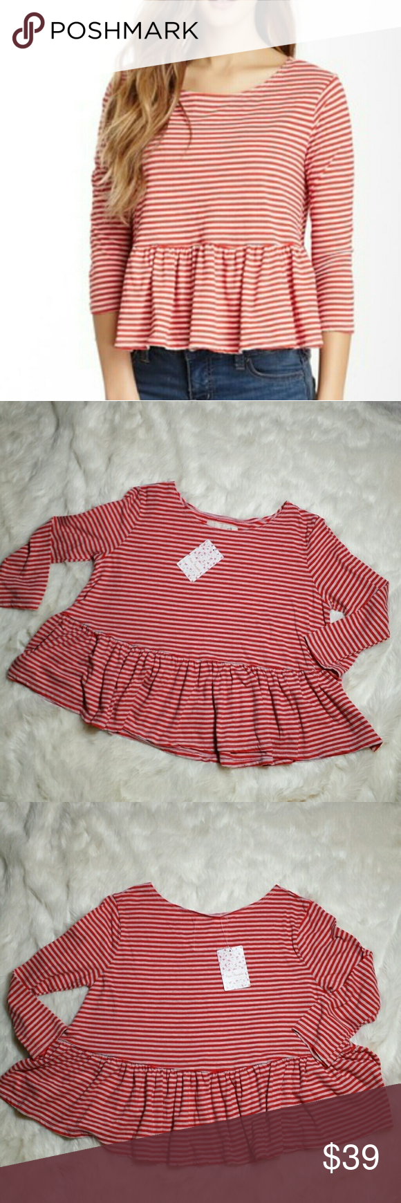 """Free People Striped NWT Peplum Shirt Size Medium Free People Striped Peplum shirt. Size medium. New with tags. Red and oatmeal colored stripes. Longsleeve with ruffled peplum. 50% cotton and 50% polyester makes for a soft stretchy top. Size medium. Retail $58. Measurements Pit to Pit 20"""" Top of shoulder to bottom hem 20"""" Free People Tops Tees - Long Sleeve"""