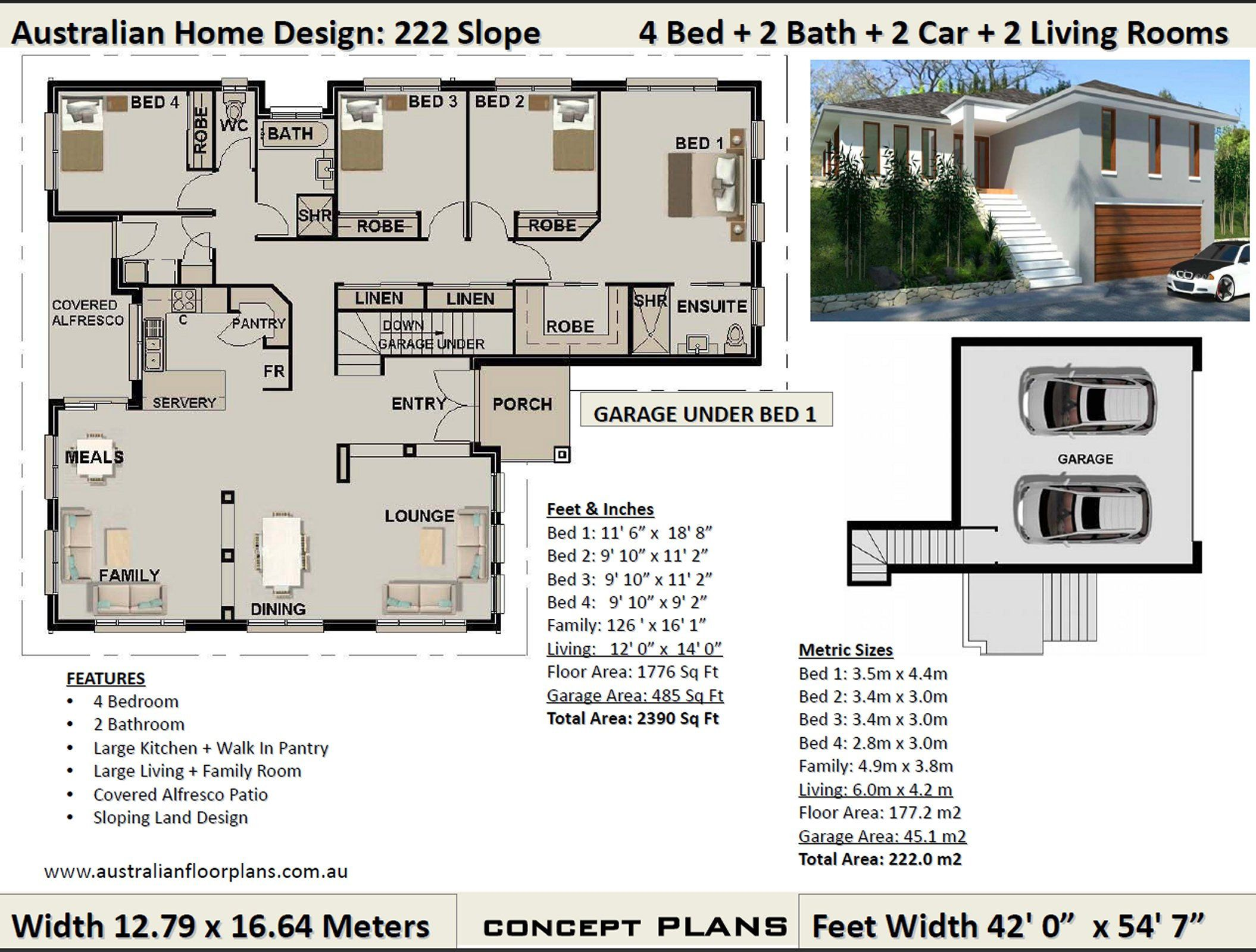1776 Sq Feet 177 M2 Sloping Land House Plan Sloping Block House Designs Home Designs For Sloping Blocks Concept Plans For Sale New House Plans Simple House Plans Four Bedroom House Plans
