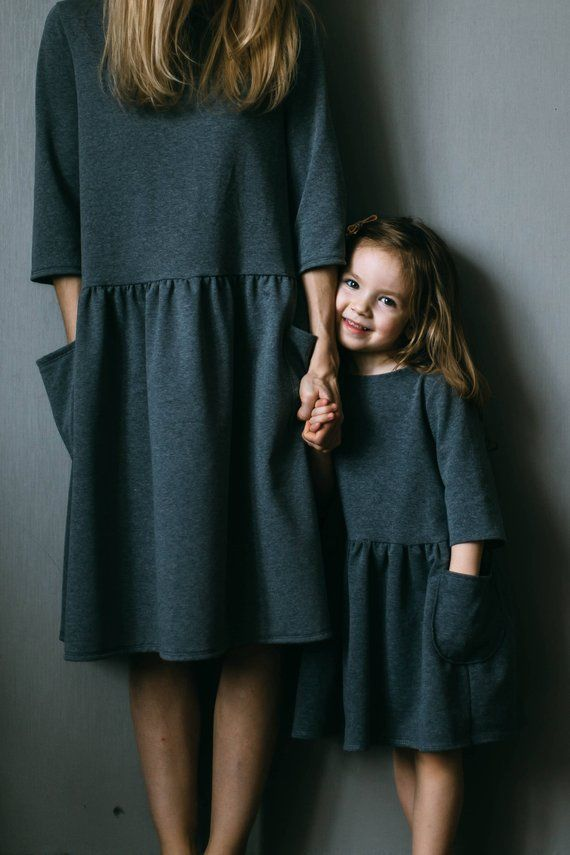 Mother daughter matching dress Mother and daughter matching outfit Mini me Girl jersey dress Girl oversized dress Dress with pockets