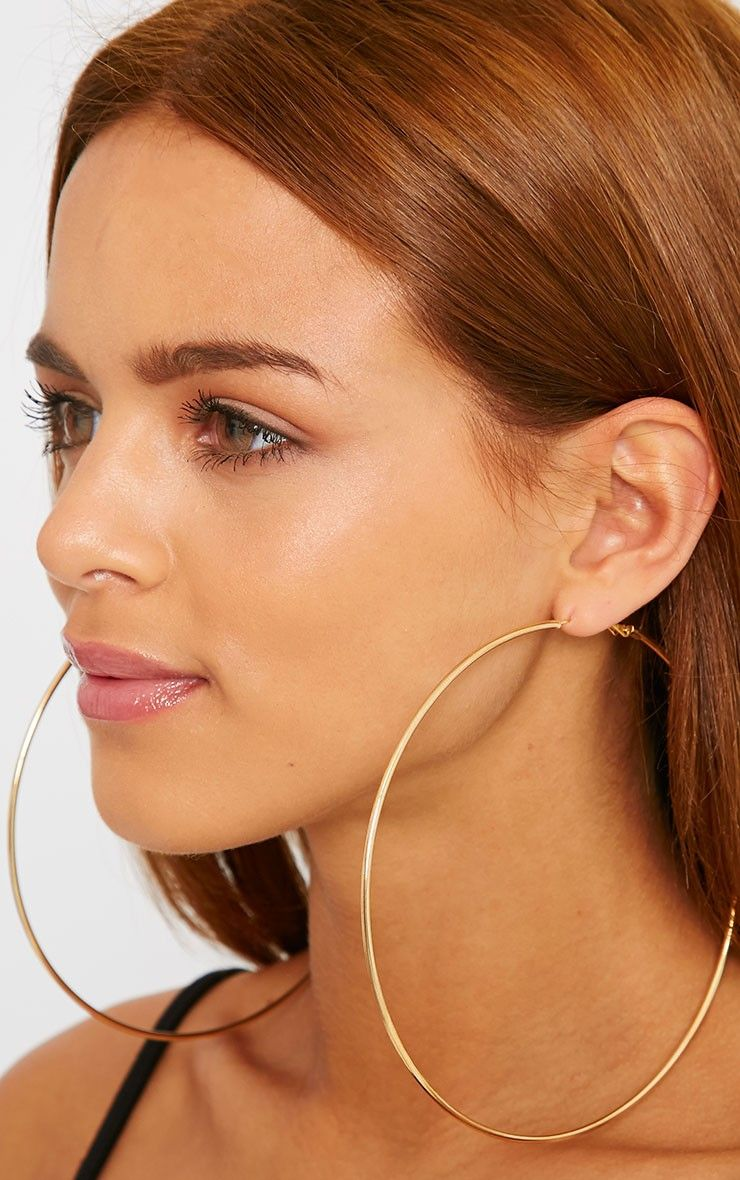 fbb3dcc15 Alicia Gold Large Hoop Earrings thumbnail 2 Thin Hoop Earrings, Oversized Hoop  Earrings, Big
