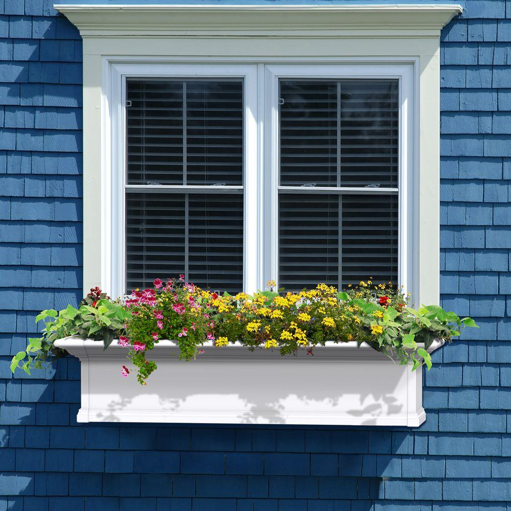 Mayne Self Watering Yorkshire 12 In X 48 In Vinyl Window Box 4824w The Home Depot Window Trim Exterior Windows Exterior Window Planter Boxes