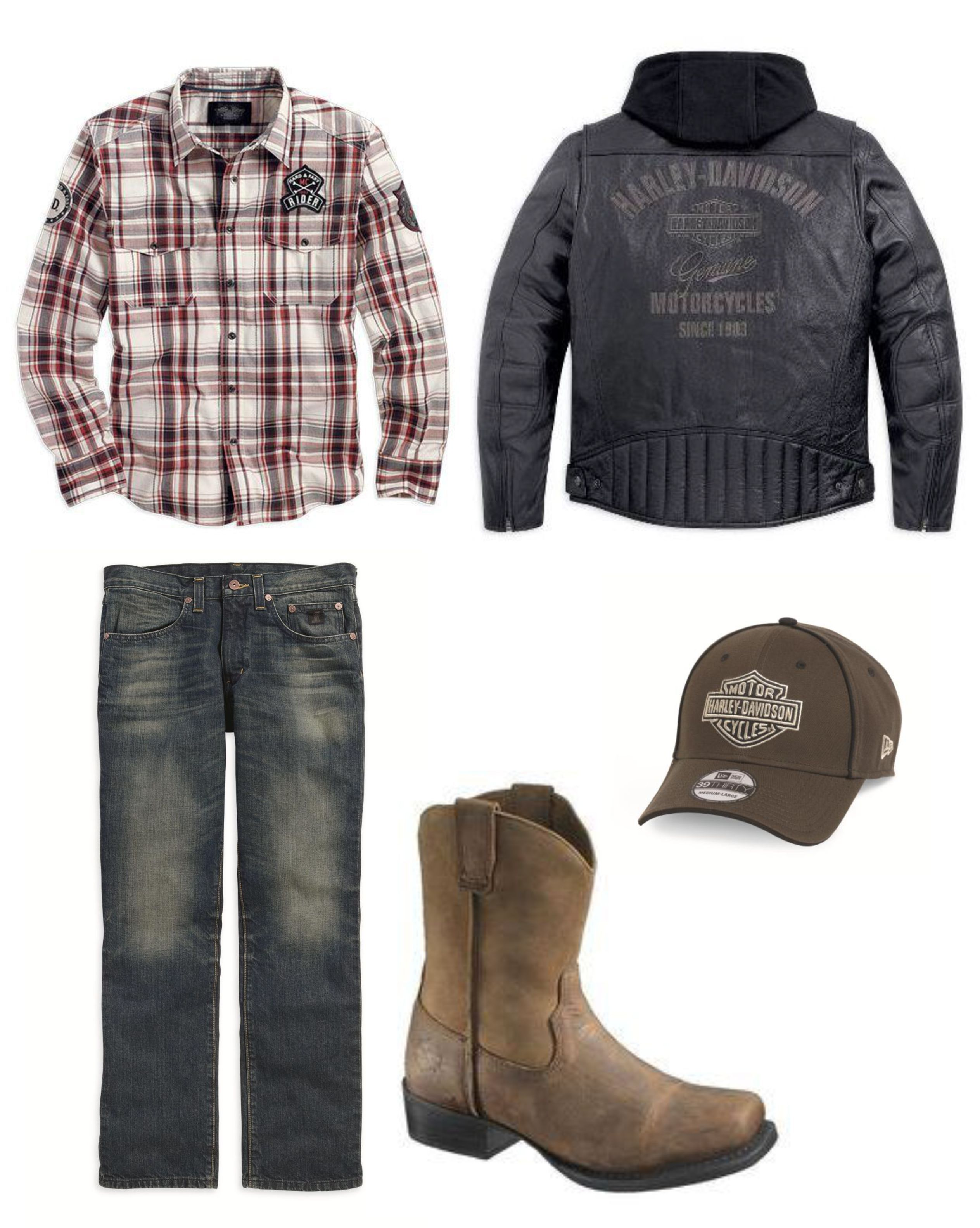 Men's outfits with flannel  HarleyDavidson Mens Outfit Idea HarleyDavidson Flannel Jeans