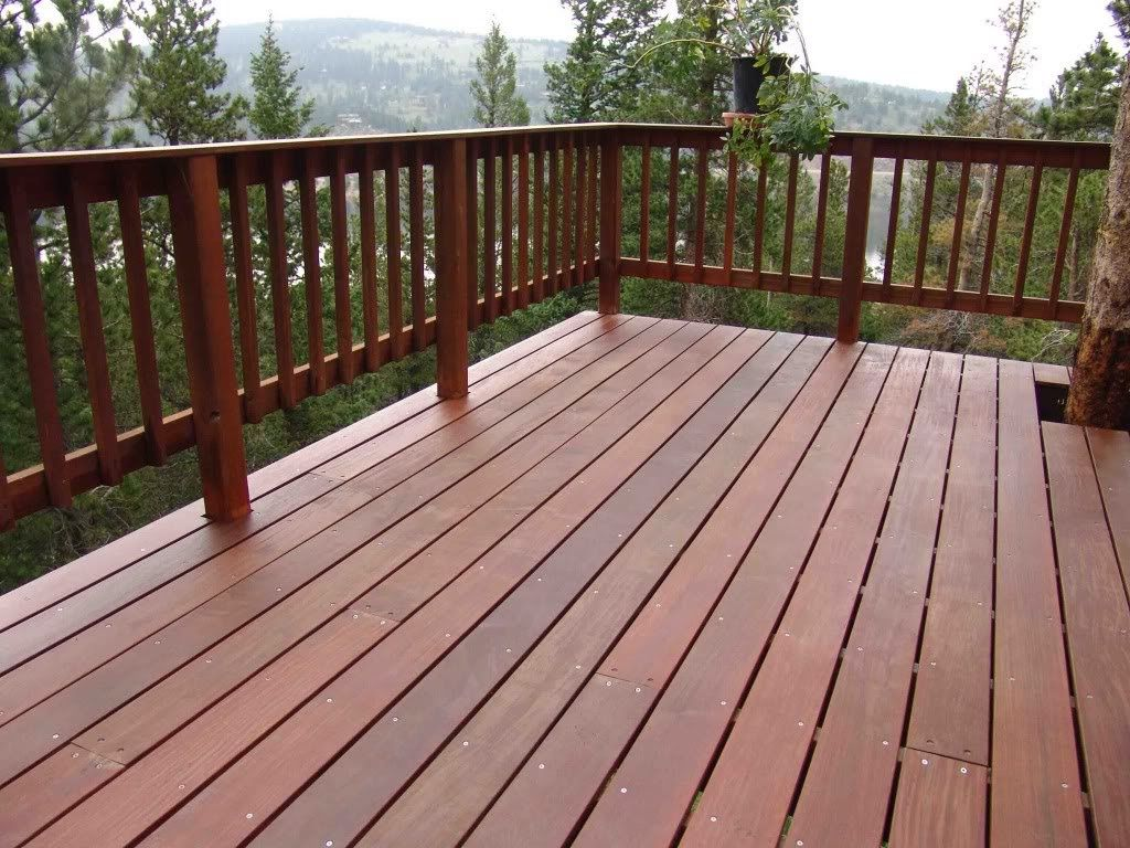 Wood deck railing composite deck railing wood deck for Which timber for decking