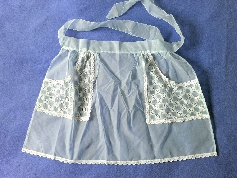 Beautiful+Sheer+Blue+Chiffon+Vintage+Apron+Unusual+Lace+Pockets+Great+Condition+