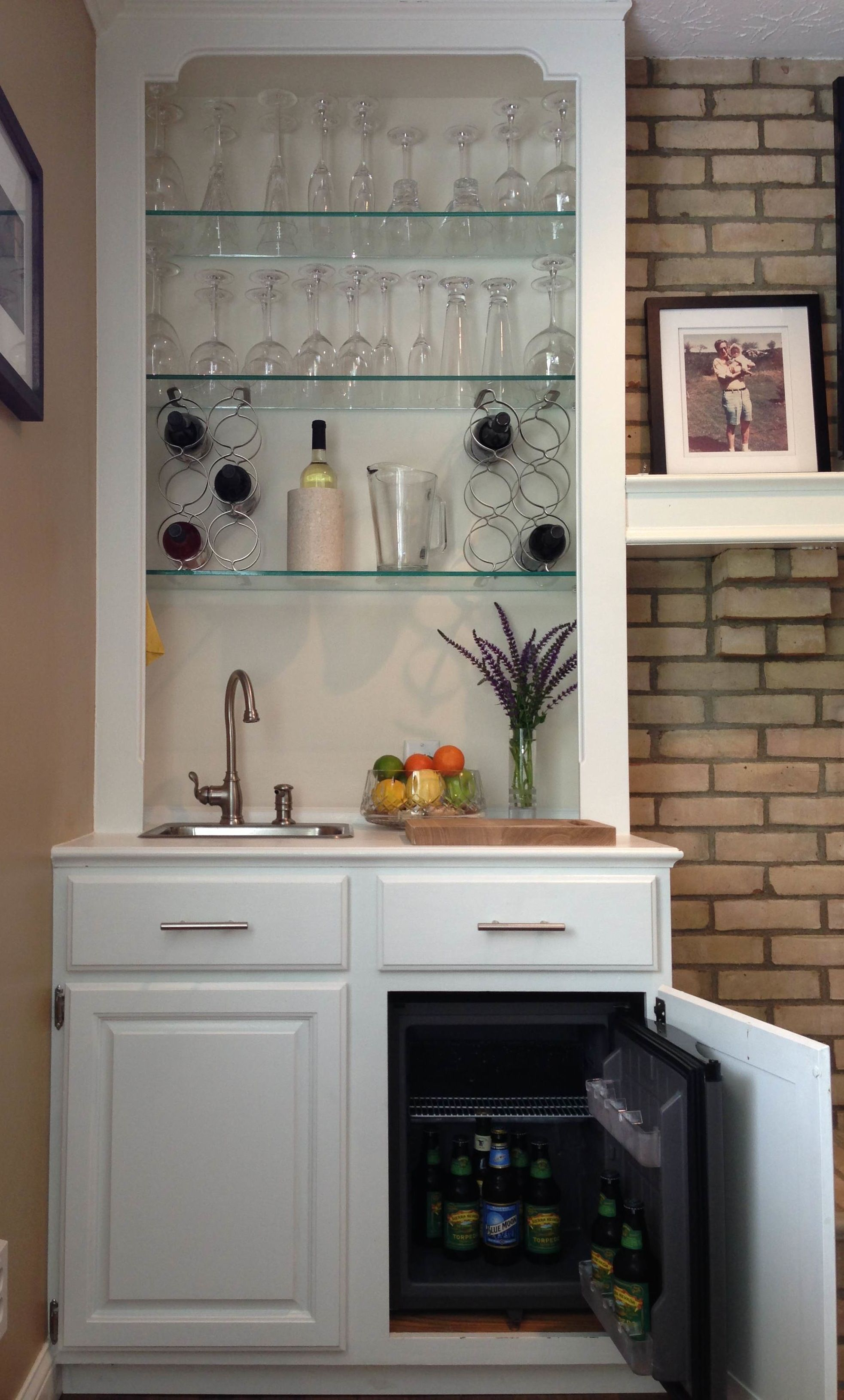 Built In Wet Bar   I Converted An Ugly, Mirror Backed Book Shelf Into This  Built In Wet Bar. The Key Pieces Are: Summit Appliance Mini Refrigerator*  (Home ...