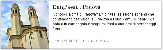Comuni in provincia di #Padova inseriti come definizioni in schema enigmistico e cruciverba