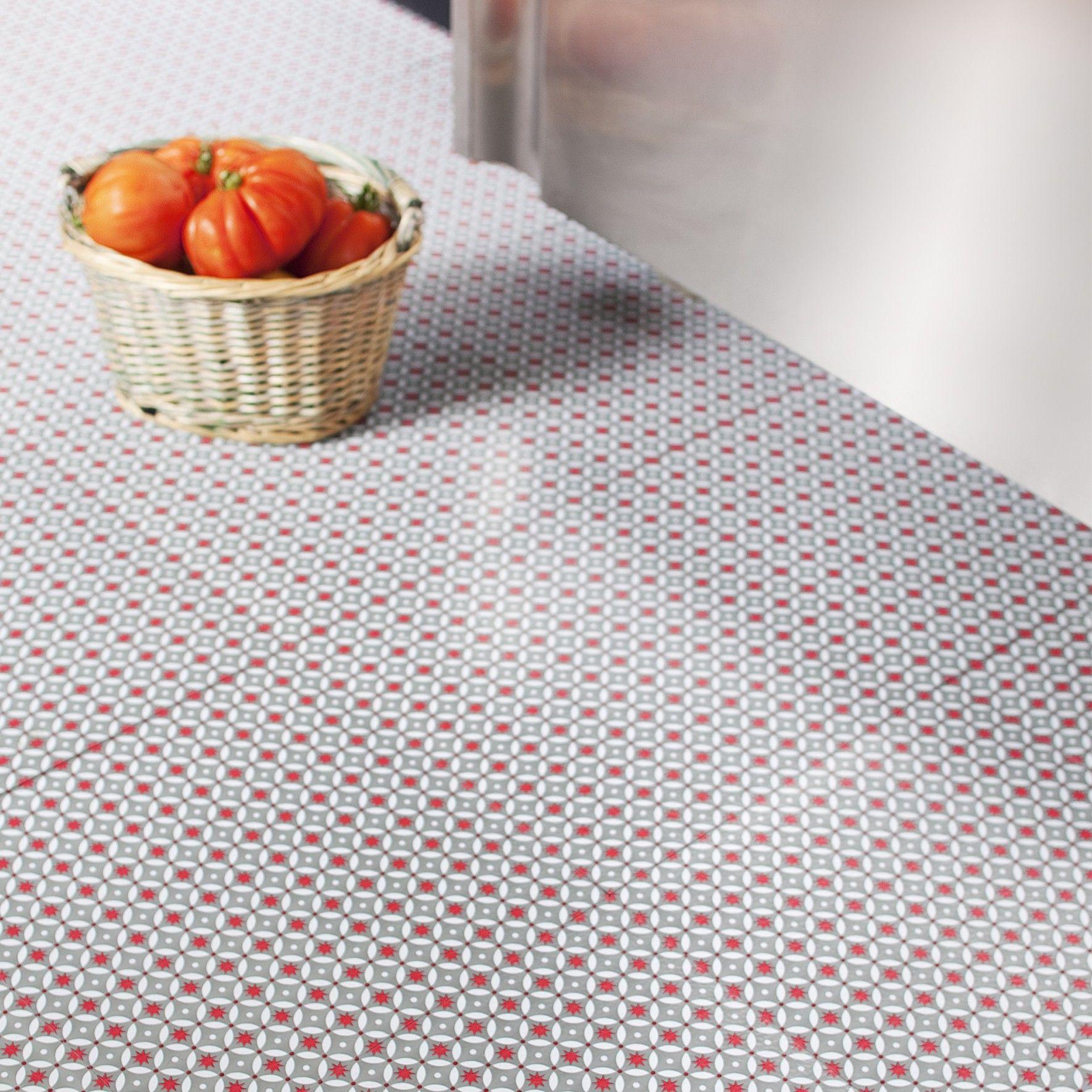 zelfklevende vinyl vloertegels in retro print red stars wit grijs