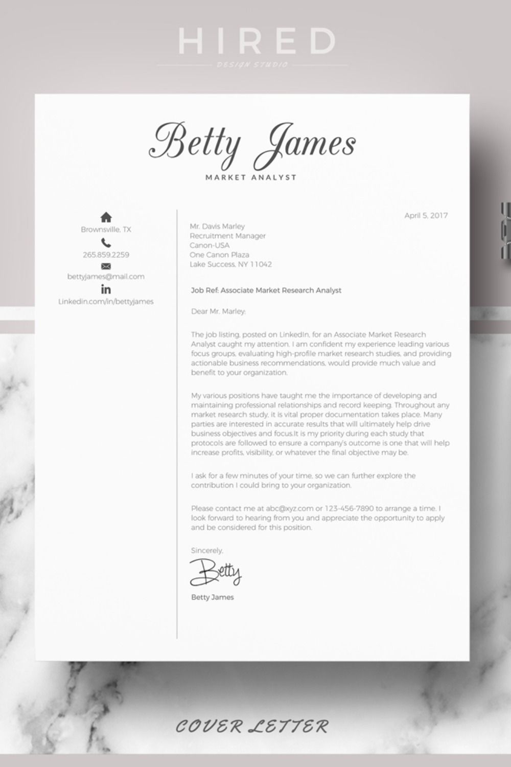 R44 BETTY JAMES Professional & Modern Resume Template