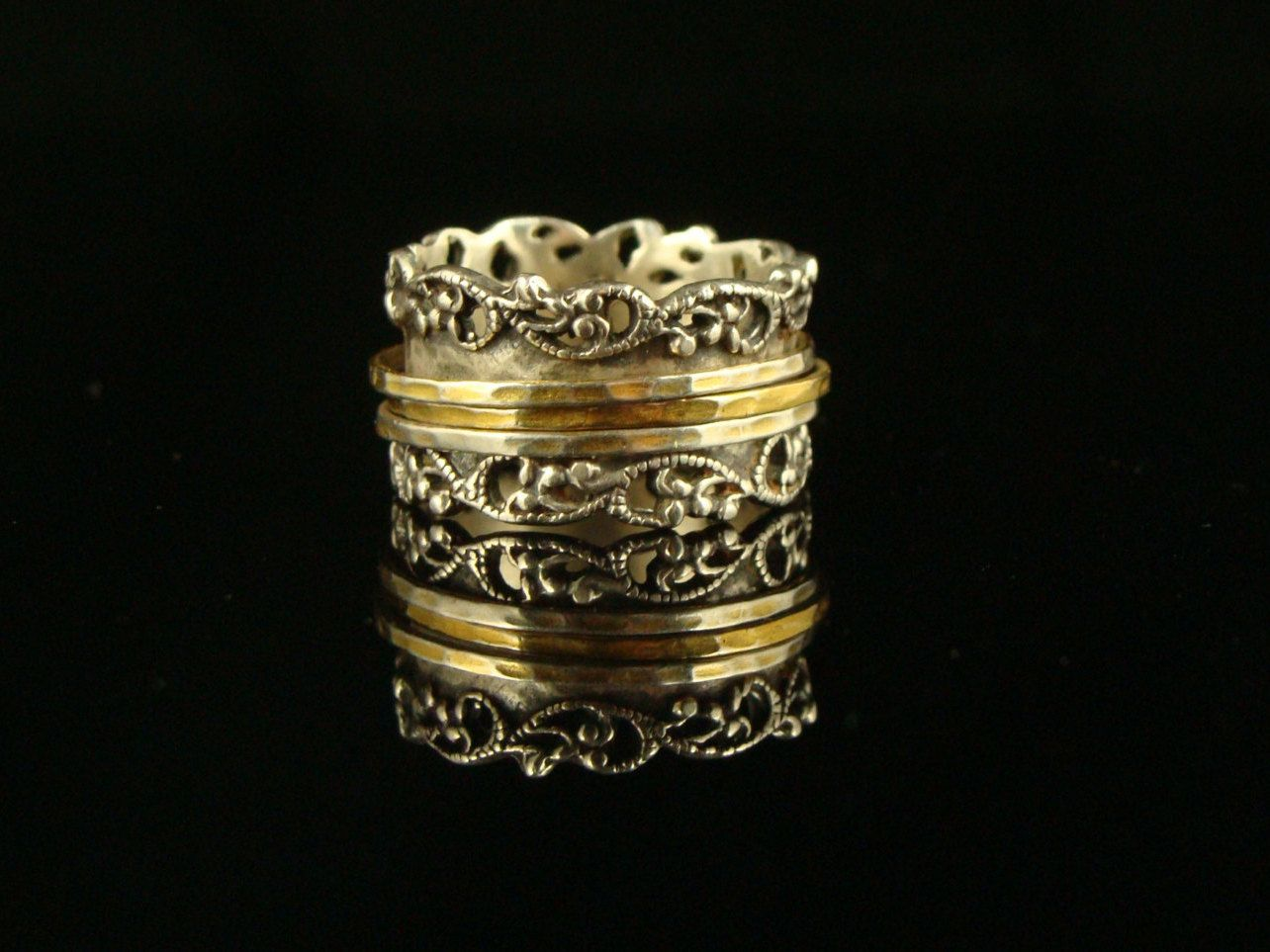 Sterling Silver 14K Gold Spinner Ring Israel Or Paz Size 95 925