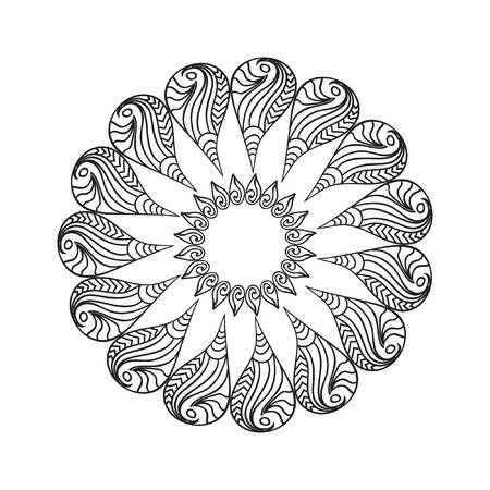 Oval Frame mandala coloring page isolated on white in 2020