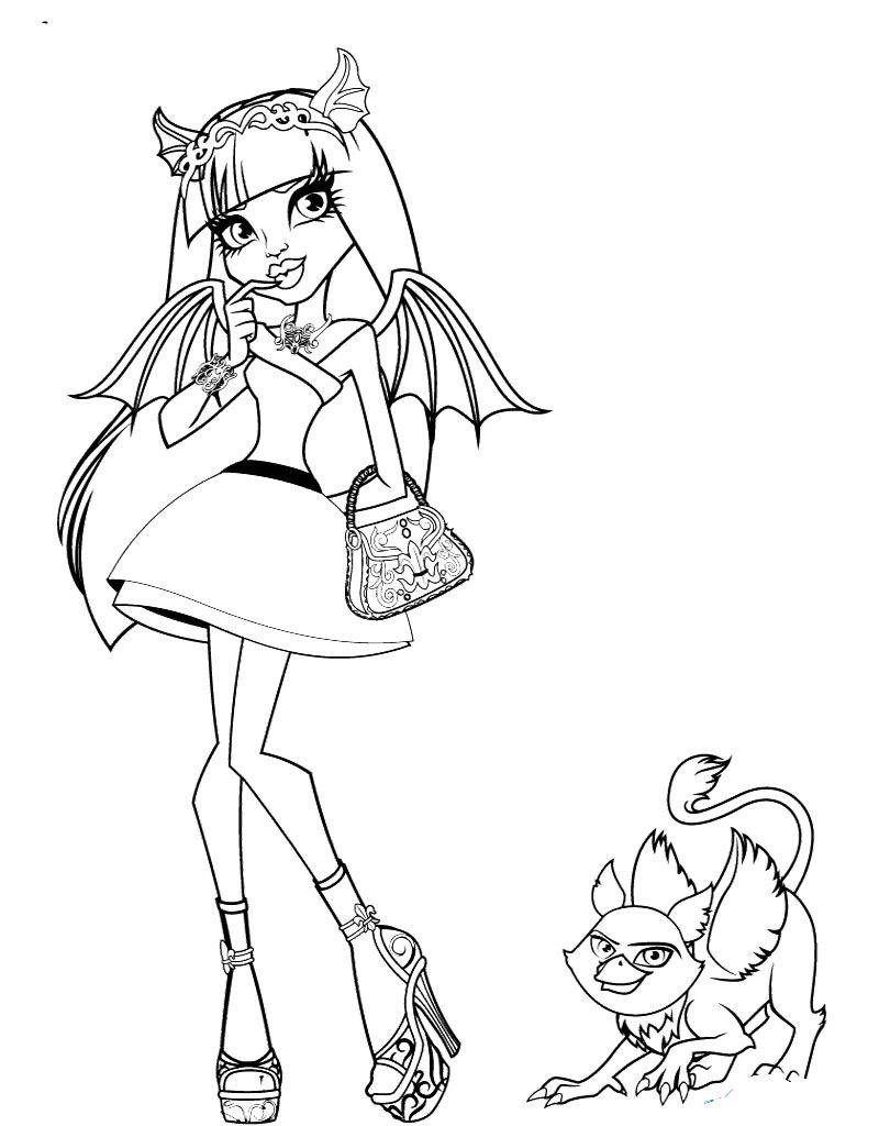 Monster High Rochelle Gregory Goyle With Pets Coloring Page ...