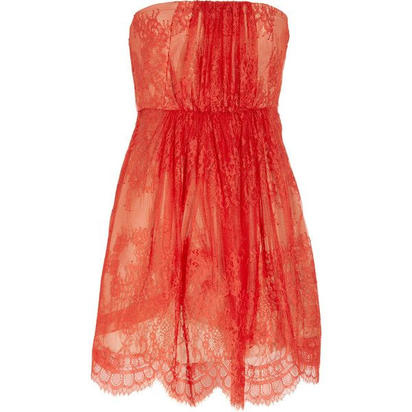 Tibi strapless lace print dress