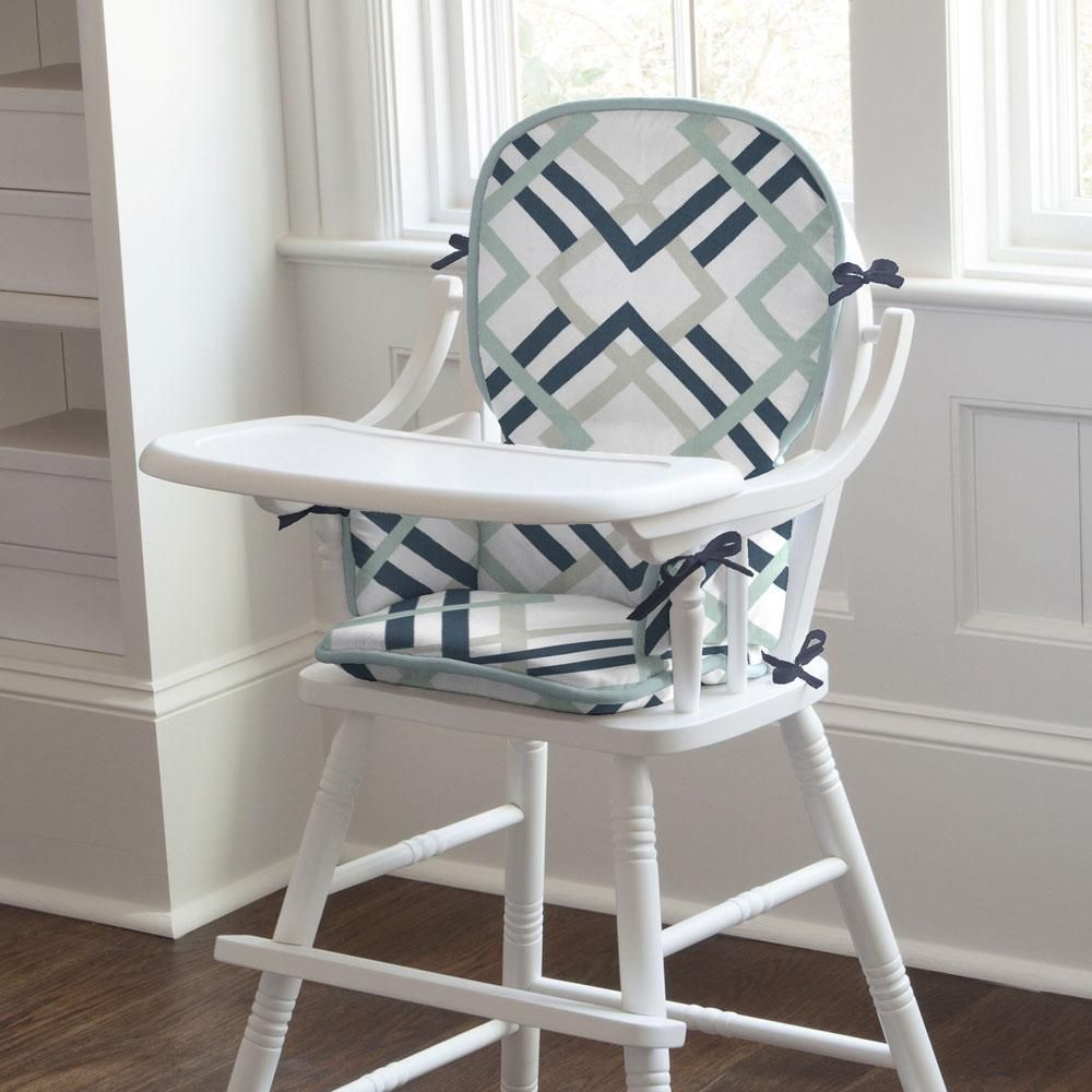 Navy and gray geometric high chair pad in 2020 rocking