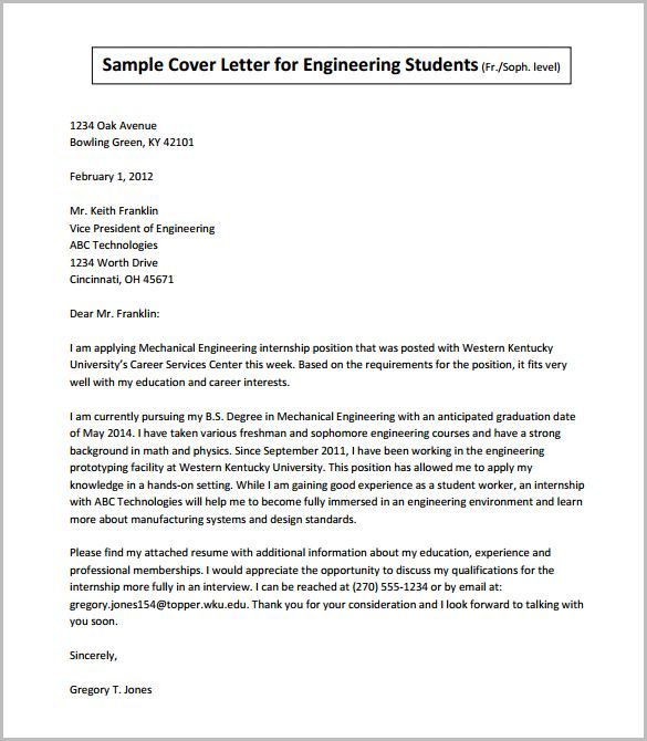 sample cover letter for engineering students pdf download email - cover letter engineer
