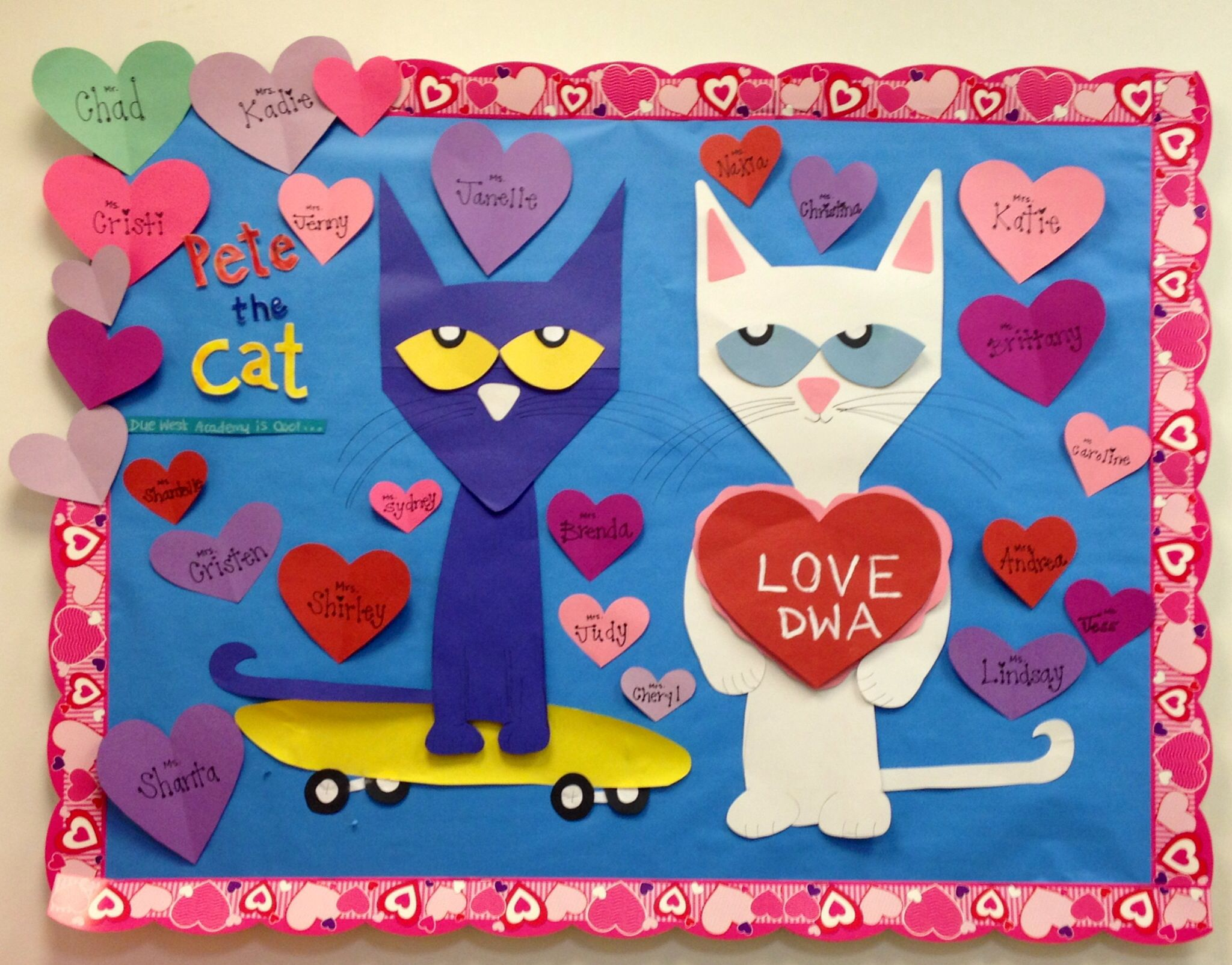 February crafts for preschoolers - Pete The Cat Valentine Day Board