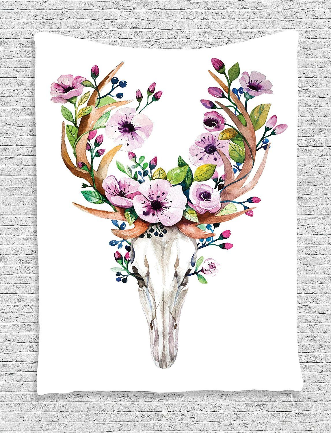 """Floral Antler Tattoo: Size:60"""" W By 80"""" L"""