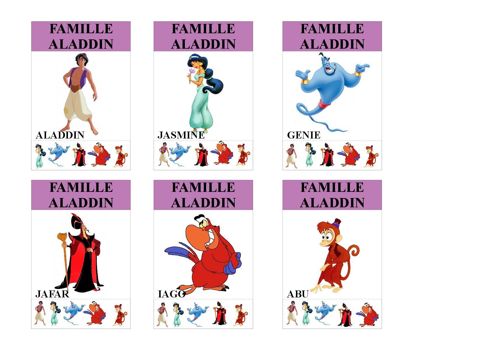 Famille Aladdin Jeu Des 7 Familles Utilisable Pour Les Plus Jeunes Vu Que Tous Les Membres Des Familles Sont Indique Jeux Des 7 Familles Famille Disney Aladdin