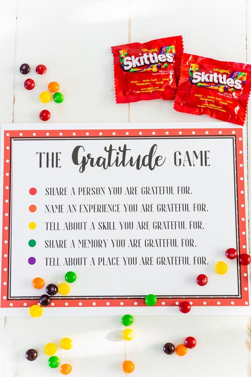 Free Printable Skittles Gratitude Game in 2020 Fun