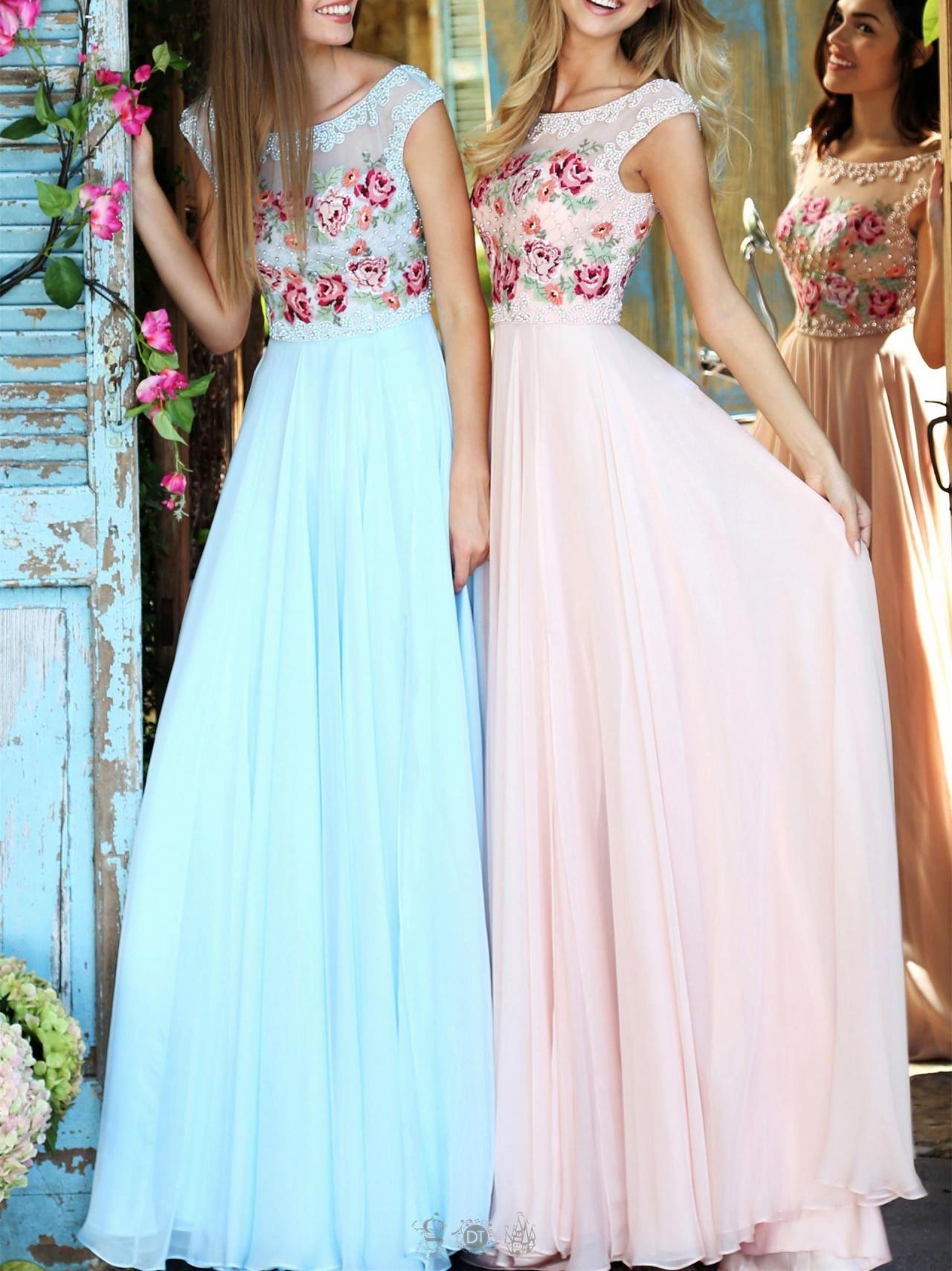 Open-Back Embellished Floor-Length Gigi Prom Dress in 2020