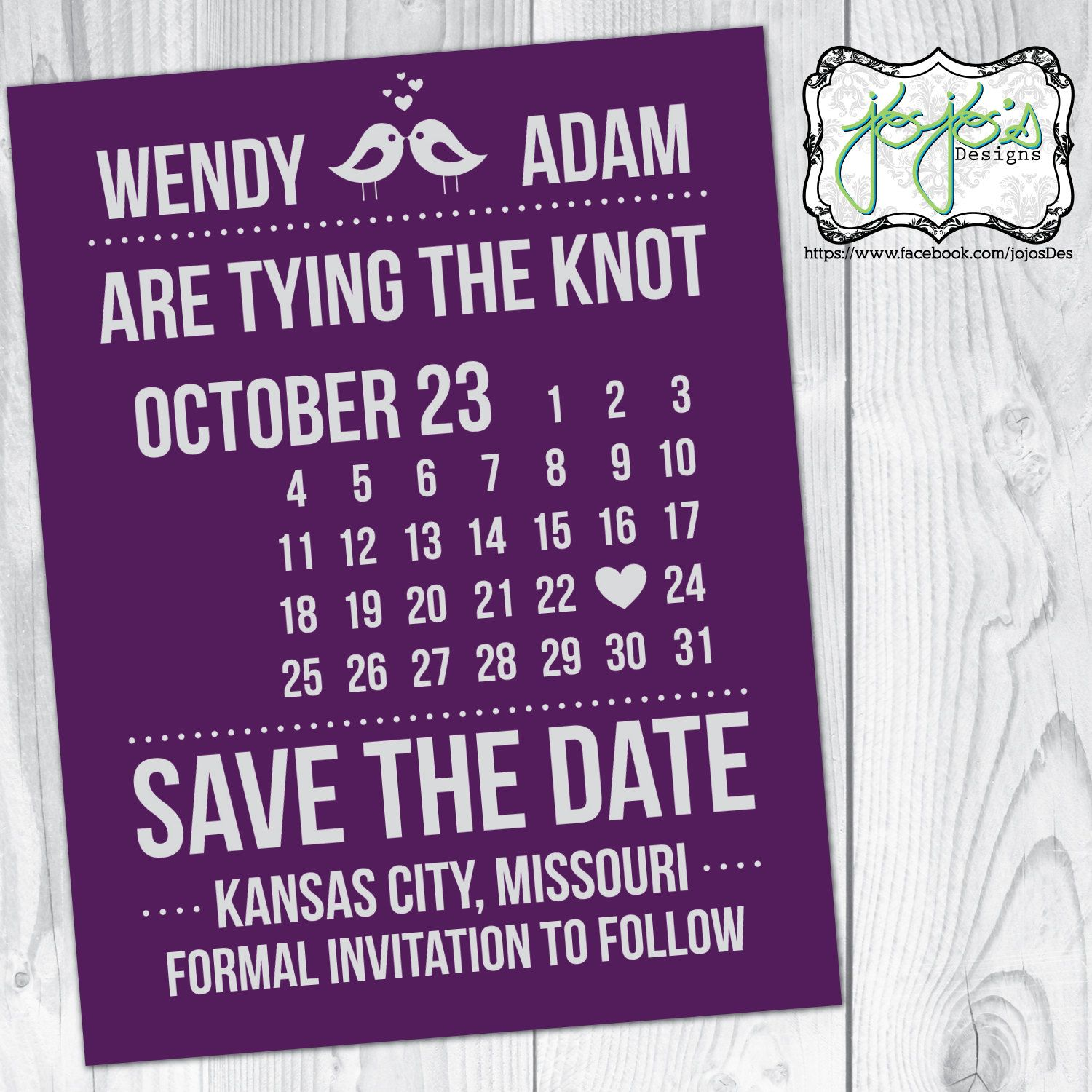 Calendar, Plum and Silver/Gray Save the Date Announcement Card (Digital File) by jojosdesigns on Etsy