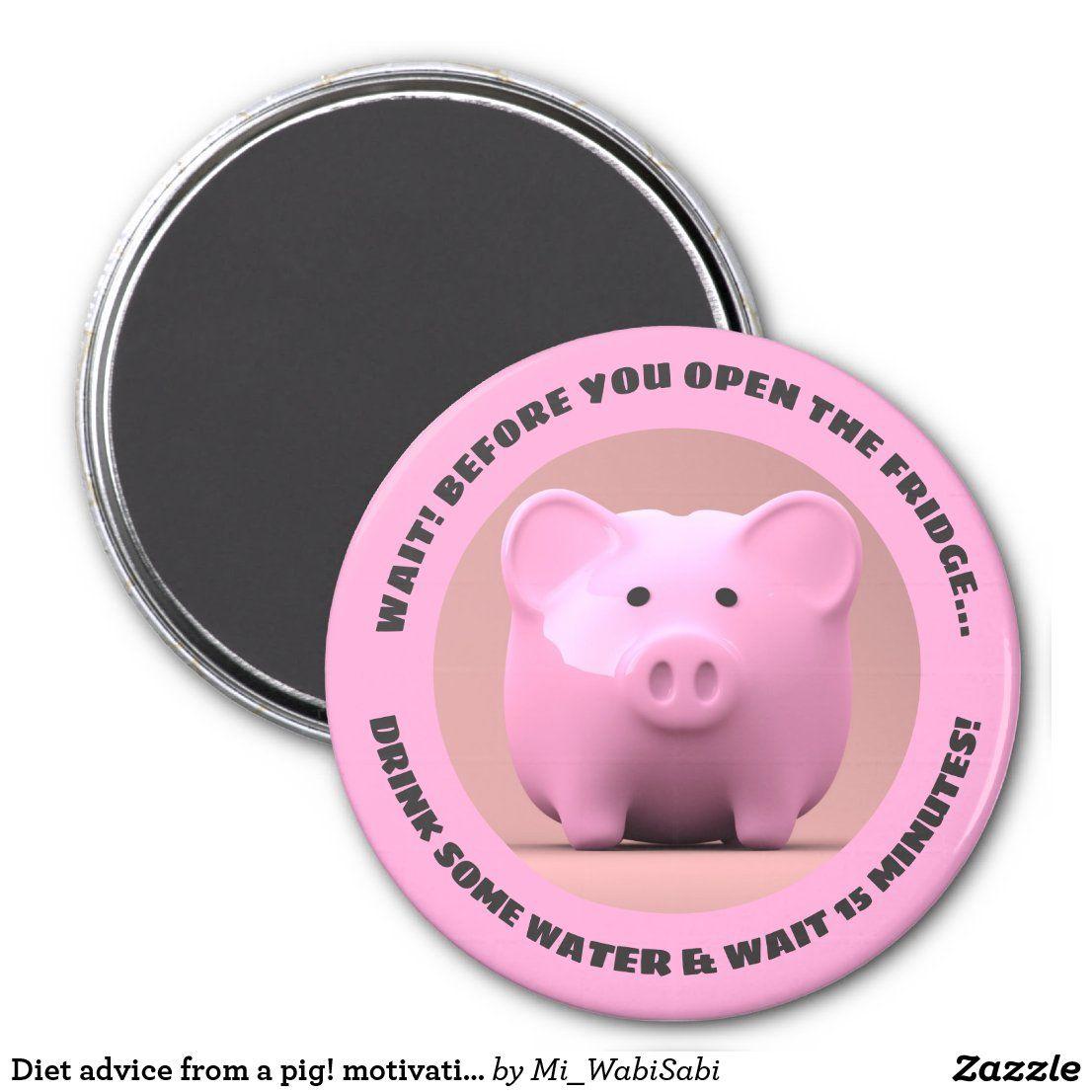 Diet Advice From A Pig Motivational Magnet Zazzle Com Diet Advice Diet Motivation