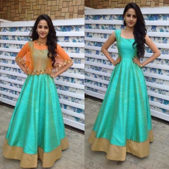 Indowestern / Indian style prom dress in georgette. Comes with cape ...