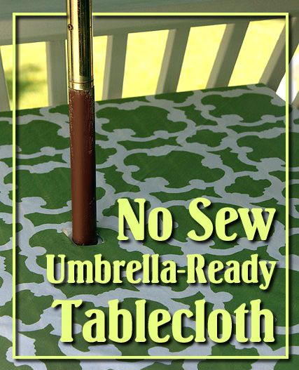How To Turn A Shower Curtain Into A Patio Tablecloth With Umbrella Hole. No  Sewing