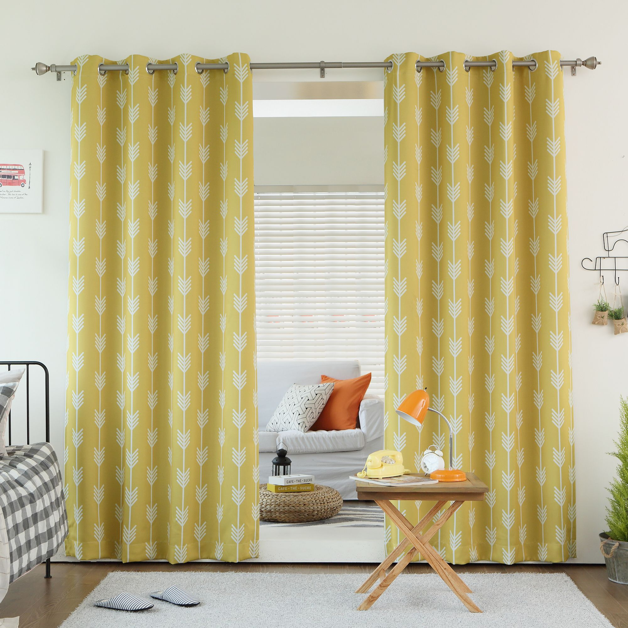Curtain pair overstock shopping great deals on lights out curtains - Aurora Home Arrow Room Darkening Blackout Grommet 84 Inch Curtain Panel Pair By Aurora Home