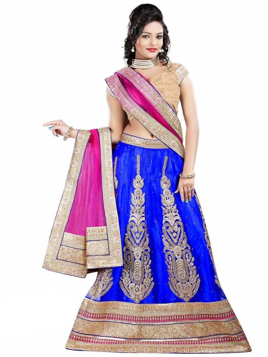 Splendorous look blue color net lehenga item code gmk new