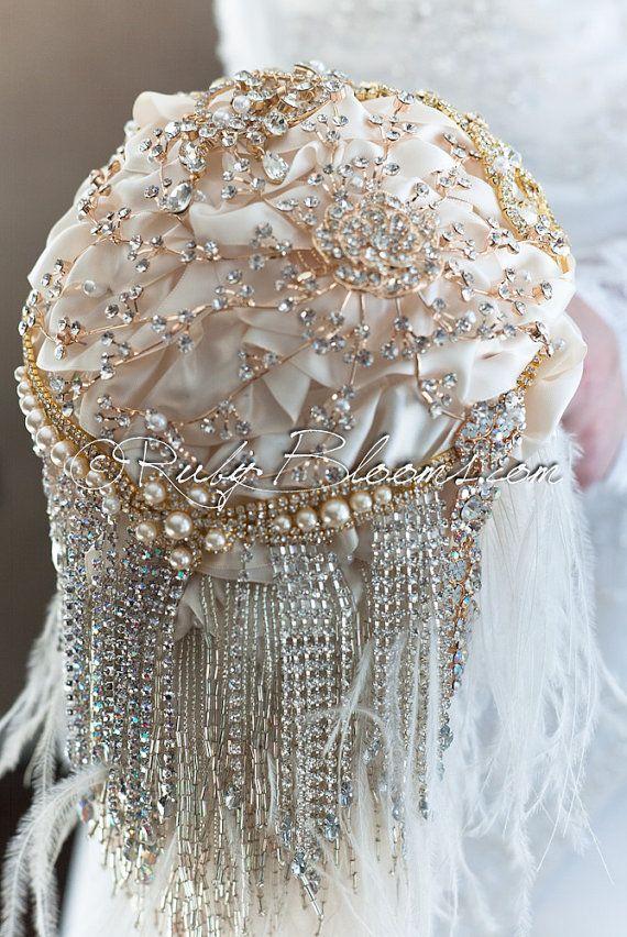 Cascade Crystal Gold Wedding brooch bouquet. by Rubybloomscom