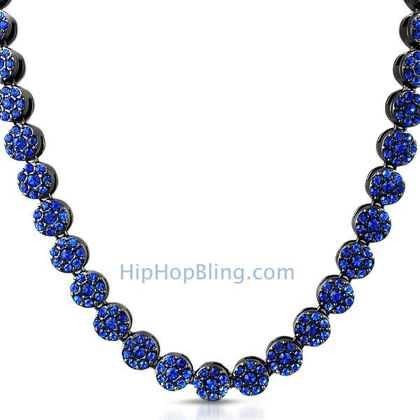 All Blue Cluster Bling Bling Chain Hip Hop Jewelry Deals