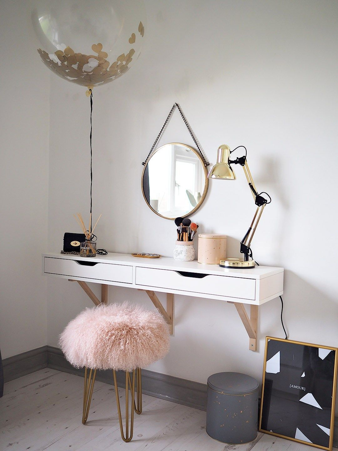 Scandinavian dressing table featuring the perfect mongolian