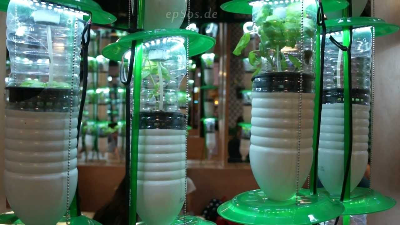 Hydroponic Farming System In Plastic Bottles With Led