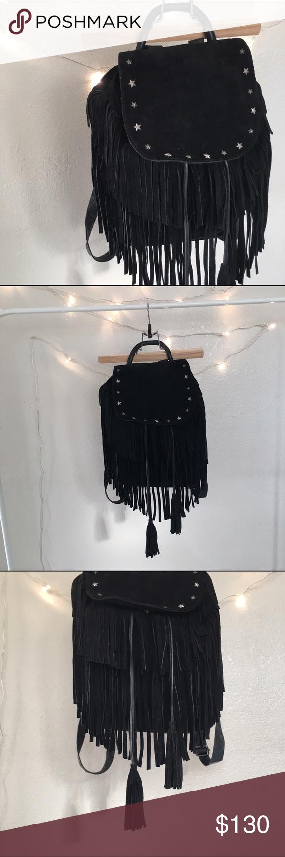 MAISON SCOTCH BLACK FRINGE BACKPACK STUDDED PURSE Amazing backpack Maison Scotch Bags