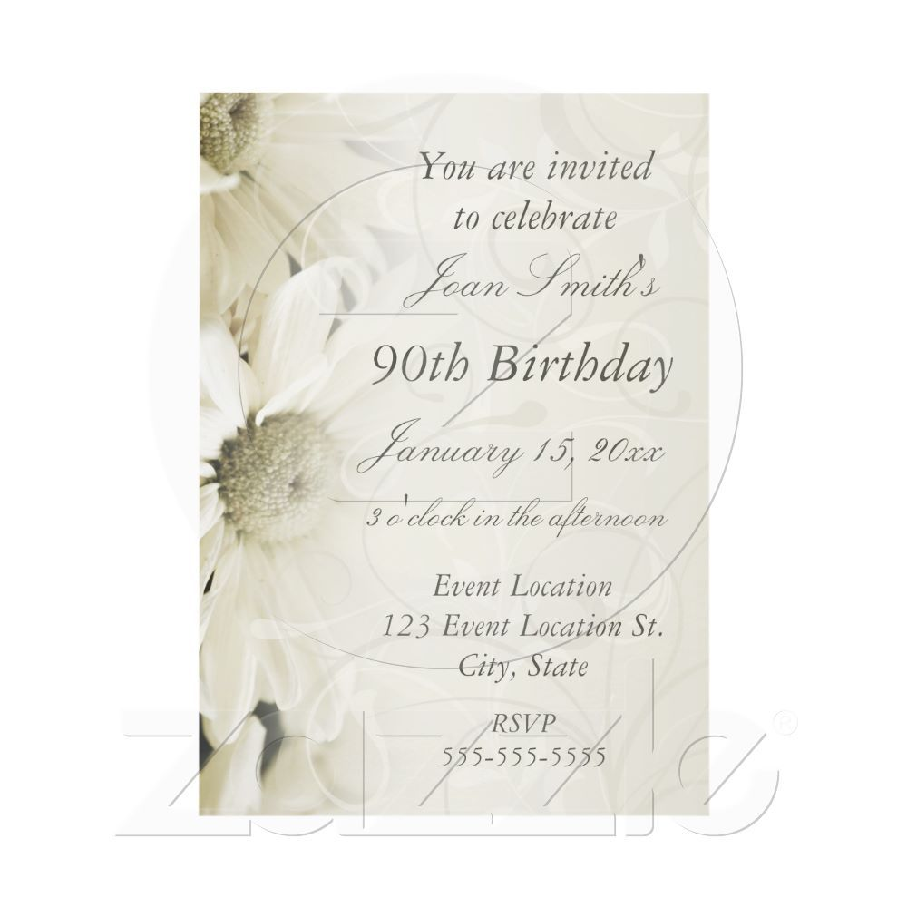 White Flowers 90th Birthday Party Invitations   90th birthday ...