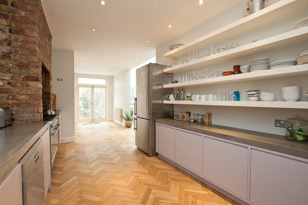 Polished Concrete Worktops With Hand Painted Custom Cabinets